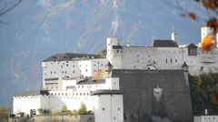 Historic city of Salzburg with Fortress Hohensalzburg in the background Stock Footage