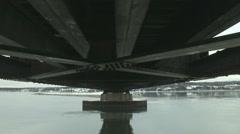 Winter under bridge dolly-shot Stock Footage