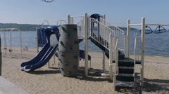Empty playground on the beach Stock Footage