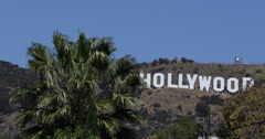 Ultra HD 4K Hollywood Sign Los Angeles Hills Movie Awards Academy Film Day - stock footage