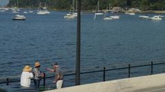 Older ones talking on pier overlooking water (1 of 2) Stock Footage