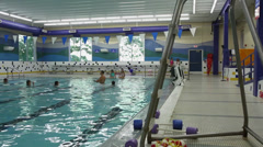 Few people swimming in indoor swimming pool (2 of 4) Stock Footage