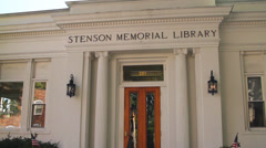 Stenson Memorial Library building and clock Stock Footage