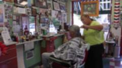 Man getting haircut at barbershop (2 of 4) Stock Footage