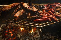 Lit grill meat - parrilla encendida con carne Stock Photos