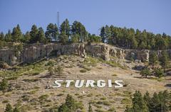 sturgis on hillside - stock photo
