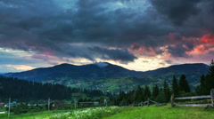 Timelapse of cumulonimbus clouds passing by over Carpathian mountains Stock Footage