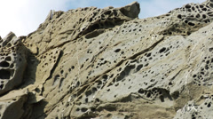 Strange basalt rock formations on the shore of Rhodes Stock Footage