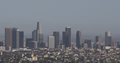 Ultra HD 4K Aerial View Los Angeles Downtown Skyline Corporate Skyscraper Office Stock Footage