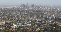 Ultra HD 4K Los Angeles Aerial View Cityscape Office Towers Crowded Area US LA Stock Footage
