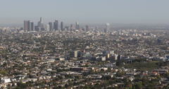 Ultra HD 4K Aerial View Downtown Los Angeles Corporate Skyline Skyscrapers Stock Footage