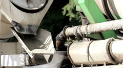 Cement mixer slowly mixing the cement inside Stock Footage