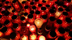Thousands of candles, path to heaven Stock Footage