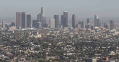 Ultra HD 4K Skyline Aerial View Downtown Los Angeles Modern Buildings Skyscraper Stock Footage