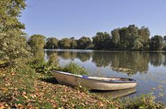 boat on the lake ban - stock photo