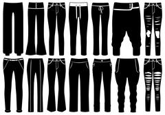 Set of different pants Stock Illustration