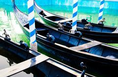 beautiful gondola moor on river - stock photo