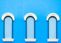 vintage blue windows - stock photo