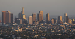 Ultra HD 4K Sunset Light Los Angeles Aerial View Cityscape Office Towers Crowded Stock Footage