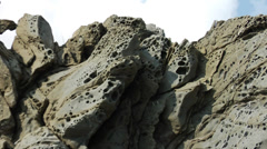 Strange basalt rock formations on the coast of Rhodes Stock Footage