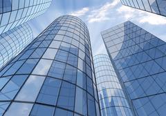 blue skyscrapers - stock illustration