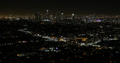 Ultra HD 4K Night Evening Lights Aerial View Los Angeles Downtown Busy Suburb Stock Footage