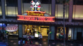 Disney Store Shopping Street Walk Fame Hollywood Boulevard People Passing Night Footage