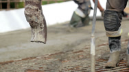 473 cement mixer pouring cement on the ground Stock Footage