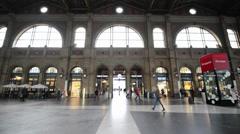 Passengers traveling through Zurich HB Oct 24, 2013 in Zurich Stock Footage