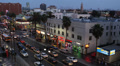 Crowded Hollywood Boulevard Car Passing Traffic Busy City People Walking Night Footage