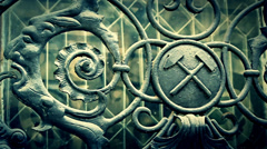 Cinematic shot of iron masonic symbols Stock Footage