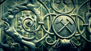 Stock Video Footage of Cinematic shot of iron masonic symbols