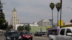Highland Avenue Hollywood Busy City Car Passing Rush Hour Traffic Commuters LA Stock Footage