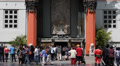 TCL Chinese Theatre Grauman People Walk Fame Tourists Visiting Crowds Hollywood Footage