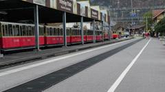 The train in swiss alps , SwitzerlandThe train in swiss alps , Switzerland - stock footage