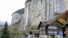 Valley of waterfalls at Lauterbrunnen of Jungfrau region, Switzerland Stock Footage