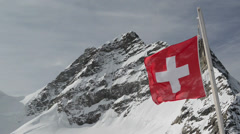 Swiss Alpine Alps mountain landscape. Viewed from Jungfraujoch Stock Footage