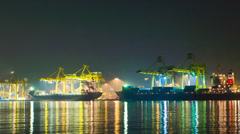 Cargo sea port. time lapse cargo cranes. zoom out effect Stock Footage