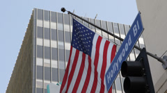 Traffic Hollywood Street Sign Pedestrian Crosswalk American Flag Office Building Stock Footage