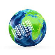 3d earth model with shaded relief - stock illustration