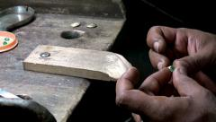 Goldsmith makes jewelry. Stock Footage