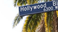 Traffic Pedestrian Crosswalk Hollywood Street Sign Los Angeles Palm Trees USA LA - stock footage