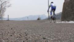 Cyclist pedaling fast - stock footage