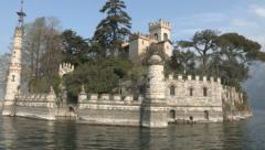 Castle on island on a lake Stock Footage