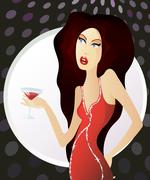 woman in red dress standing with glass of martini - stock illustration