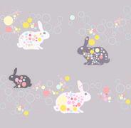 cute rabbit pattern - stock illustration