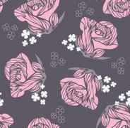 seamless vintage rose pattern - stock illustration