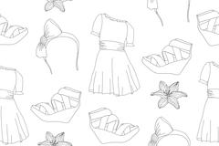Hand drawn cute fashion seamless pattern with dresses, wedge sandals, headban Stock Illustration