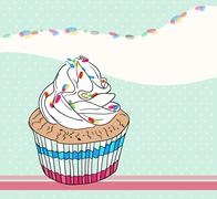 cute birthday card with cupcake - stock illustration