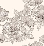 Seamless floral pattern. background with flowers and leafs. Stock Illustration